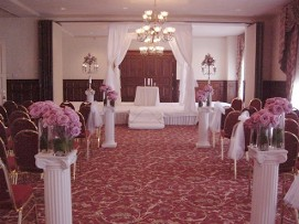 Aisle with Pink Flowers